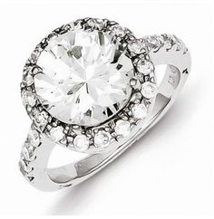 Sterling Silver Rhodium Plated CZ Engagement Ring with open back -   only at www.jewelsberry.com  #engagementring #rings #jewelry
