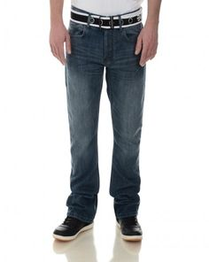 8871d48937 Crosshatch Bootcut Denim Jeans Moscow Mid Wash Blue