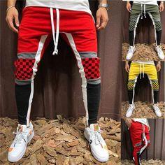 41170a2e07 men gym jogging pants harem sweatpants men casual fashion cotton patchwork pants  man trousers 2018 hip