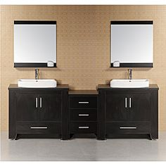 @Overstock - This contemporary style double-sink bathroom vanity set features abundant storage with two cabinets and five storage drawers. The beautiful piece is finished in black and comes complete with matching framed mirrors.http://www.overstock.com/Home-Garden/Design-Element-Washington-Modular-Double-Sink-Bathroom-Vanity-Set/6463200/product.html?CID=214117 $1,859.99