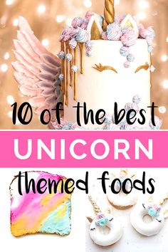 10 of the best rainbow unicorn themed foods.  Including unicorn cakes, rainbow toast and unicorn donuts.  Plus unicorn rainbow latte and unicorn cupcakes tutorials.