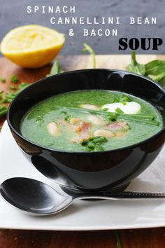 spinach, cannellini bean & bacon soup