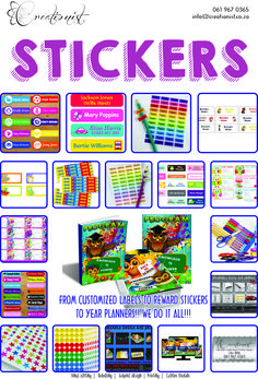 Any Sticker Printing Business Cards Flyers Buttons Blocked Canvas Custom Branding Custom Design Banners Paper printing Corporate Gifts & Clothing Car and Fridge Magnets Custom Water labels Back to School Stickers Personalized Gifts Wall Art  CAR MAGNETS @ R180 PER SET!!! EXPOSE YOUR BRAND!!!  T-SHIRTS FROM R25/PRINT!! MUGS FROM R50  Contact us on 061 967 0365 or info@creationist.co.za or visit our website www.creationist.co.za Business Cards And Flyers, Sticker Printing, Reward Stickers, Car Magnets, Corporate Gifts, Banner Design, Banners, Art For Kids, Personalized Gifts