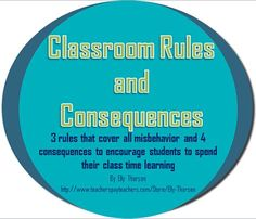 Classroom management for middle and high school classrooms. 3 rules and 4 consequences and how they work in an actual classroom