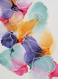 Would you like to learn how to paint with alcohol ink? In this alcohol ink online workshop you will learn how to draw flower and coral illustrations on alcohol ink. Alcohol Ink Painting, Alcohol Ink Art, Art Floral, Watercolor Flowers, Watercolor Paintings, Abstract Watercolor Art, Colorful Paintings, Photos Encadrées, Silk Painting