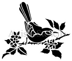 STENCIL Bird on Branch with Leaves, via Etsy.