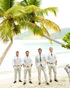 LOVE! groom in a suit and groomsmen no jacket