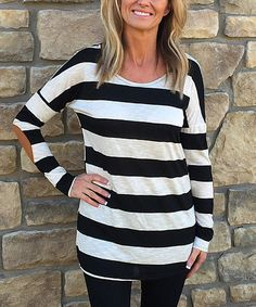Love this Black & White Stripe Elbow-Patch Tunic on #zulily! #zulilyfinds