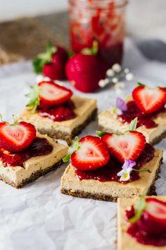 Skinny Strawberry Cheesecake Bars that don't taste skinny!