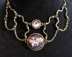 """14"""" Antique Map and Octopus Steam Punk necklace with key toggle ends"""