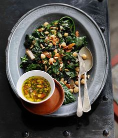 Shane Delia: Autumn greens and beans, smoked almonds and garlic - Gourmet Traveller