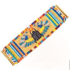 """Купить Браслет из бисера """"Скарабей"""" - комбинированный, разноцветный браслет, скарабей, египетский стиль, древний египет Ancient Egyptian Jewelry, Seed Bead Crafts, Bead Loom Bracelets, Loom Beading, Bead Patterns, Modern Jewelry, Handmade Necklaces, Beadwork, Seed Beads"""