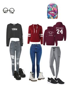 """"""""""" by morgan-e-howard on Polyvore featuring NIKE, Topshop, ZeroUV, Sprayground, MANGO and Dr. Martens"""