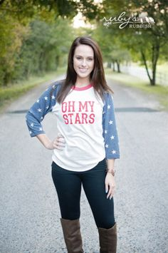 Oh my stars, is this not one of the coolest shirts?! This design is done in rubbish red, on an oh-so-soft 3/4 sleeve shirt.