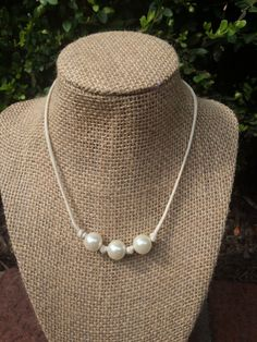 3-pearl vegan leather necklace! Faux pearls and vegan Leather. Animal friendly! Faux leather and pearl necklace.