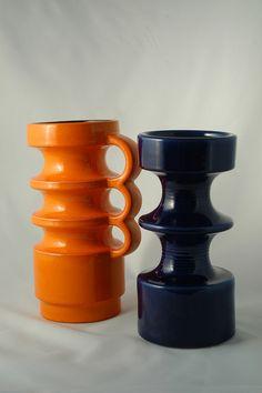 Midcentury Pop Art vases, black and orange Mid Century Modern Design, Mid Century Modern Furniture, Vintage Candles, Mid Century Decor, Lava, Glass Collection, Vintage Ceramic, Pottery Art, Mid-century Modern