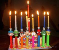 Our second entry in the DIY Holiday contest comes from reader Laura and her daughter, who went all PEZ-dispenser on a DIY holiday menorah. Check out the details and photos of the home-built menorah after the jump: Hanukkah Crafts, Jewish Crafts, Hanukkah Decorations, Hanukkah Menorah, Happy Hanukkah, Holiday Crafts, Holiday Fun, Holiday Ideas, Hanukkah Lights