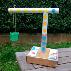 Create a construction site in your own backyard with this cardboard crane craft for kids. Recycled Crafts Kids, Vbs Crafts, Cute Crafts, School Projects, Projects For Kids, Diy For Kids, Crafts For Kids, Stem Projects, Craft Kids