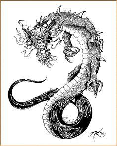 Chinese Dragon Tattoo Flash