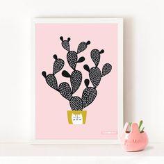 CACTUS de CACTUS nopal Cactus affiche, lame, grand Poster / rose