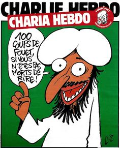 "12 murdered at offices of Charlie Hebdo satirical magazine.  Translation: ""100 lashes if you don't die laughing.""  Please repin. #‎IamCharlie ‪#‎JeSuisCharlie‬"