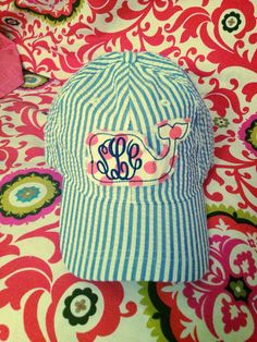 Mint seersucker hat, navy with mint whales fabric, navy monogram on back of hat
