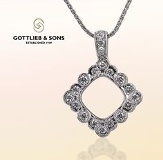 ‪#‎Vintage‬ inspired diamond pendant. Visit your local ‪#‎GottliebandSons‬ retailer and ask for style number 28977B. http://www.gottlieb-sons.com/product/detail/28977B