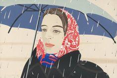 """""""Blue Umbrella;"""" Alex Katz, 1979–80. Lithograph."""