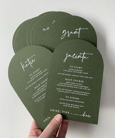 Arch menu in Eco Grandé Forest with white ink digital for designer Wedding Paper, Wedding Cards, Our Wedding, Green Wedding, Wedding Stationary, Wedding Invitations, Invites, Invitation Design, Invitation Cards
