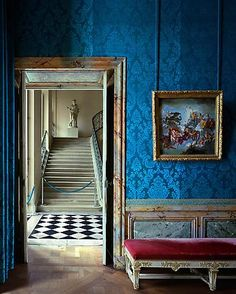 Versailles in French blue silk - just stunning, and the stairway beyond is full of possibilities...