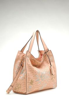 Laser Cut Aria Satchel in Peach | Awesome Selection of Chic Fashion Jewelry | Emma Stine Limited