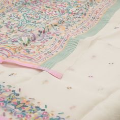 Bindu Giri Handwoven Jamdani Kora Silk Sari 1007060 - Sari / All Saris - Parisera