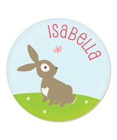 Brown Bunny Personalized Plate by sarah + abraham #zulily #zulilyfinds