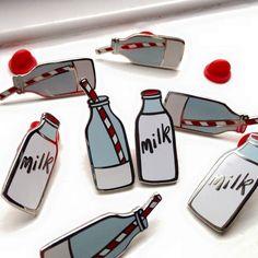 milk bottle enamel pin set - two enamel lapel pins - hard enamel milk bottle pins - with drinking straw