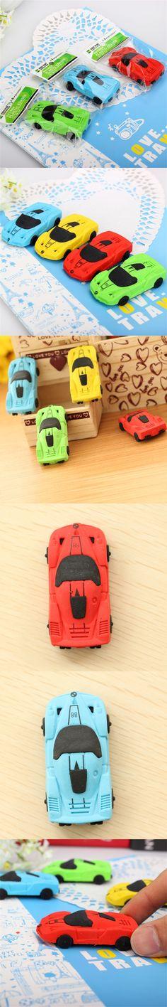 2017 New 1pcs Cute Car Stylist Student Pen Rubber Eraser Rubber Stationery Children Creative Gift Toys School Supplies