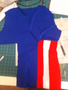 Ok, yeah. This is really blurry. This is the back of my Captain America costume! Captain America Cosplay, Costumes, Sweaters, Fashion, Moda, Dress Up Clothes, Fashion Styles, Fancy Dress, Sweater