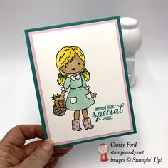 Stampin' Up! Garden Girl handmade card colored with the Stampin' Blends Markers by Candy Ford of Stamp Candy Alcohol Markers, Stampin Up, Card Making, Ford, Paper Crafts, Candy, Children, Garden, Handmade