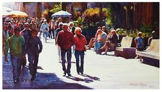 """Daily Paintworks - """"Walking by Plaza del Charco."""" by Graham Berry"""