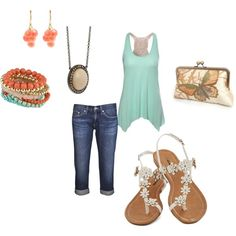 Summer Brown and Corals by jessicawhite on Polyvore