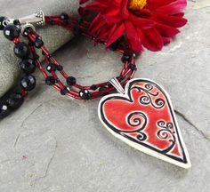 Linda Landig Jewelry with Ceramic Heart Pendant by Yolanda's Clay