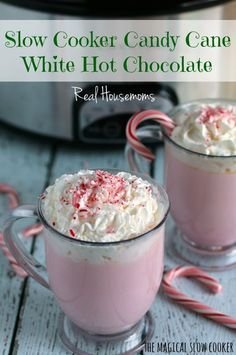 Slow Cooker Candy Cane White Hot Chocolate l Real Housemoms