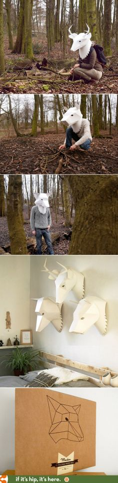 Soroche Creates Paper Animal Masks For The Wall. Or Your Head. Paper Mask, 3d Paper, Paper Toys, Origami Paper, Animal Masks, Animal Heads, Cardboard Mask, Art Projects, Projects To Try
