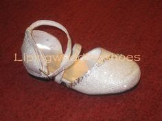 shiny silver flower girl shoes with beading