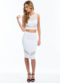 Sheer Up Mesh Inset Midi Skirt