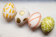 DIY Washi Tape Easter Eggs. All you need are eggs, washi tape and scissors. These will ensure that your eggs stand out during that Easter egg hunt.