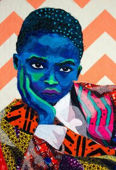 "American artist Bisa Butler uses recycled fabrics to create absolutely mesmerizing quilt tapestries, bursting with color. ""I have always been drawn to portraits. African American Artwork, African Art, American Artists, African Quilts, A Level Art, Sewing Art, Black Artists, Portraits, Fabric Art"