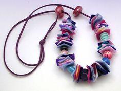Felt and Wood Bead Necklace on Leather String by OfficinaBohemica