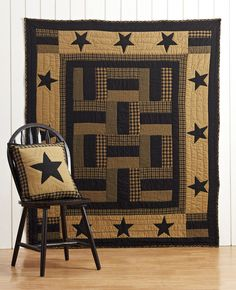 Our Delaware Throw combines patchwork strip blocks and stars in black and deep khaki tan.