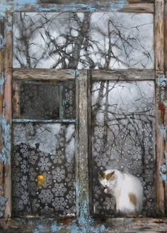 Paintings with cats sitting in a window. Cats by window in fine art. Cat Window, Window View, Window Ledge, Photo Trop Belle, Fall Inspiration, Tier Fotos, Through The Window, Russian Art, I Love Cats