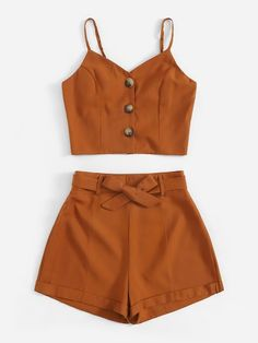Button Front Cami Top With Belted Shorts Cute Summer Outfits, Cute Outfits, Pretty Outfits, Summer Shorts, Two Piece Outfits Shorts, Belted Shorts, Modest Shorts, Long Shorts, Skirt Co Ord